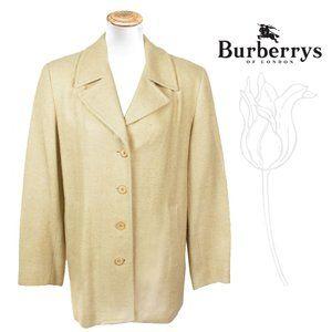 BURBERRY London Veg Lt Yellow Silk Blazer Jacket 8